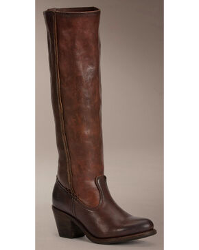 Frye Women's Leslie Artisan Tall Boots - Round Toe , Dark Brown, hi-res