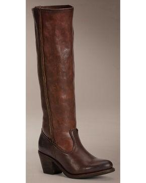 Frye Women's Leslie Artisan Tall Boots - Round Toe , Dark Brown, hi-res