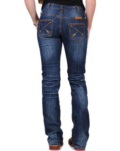 Cowgirl Tuff Women's Blue Pathmaker Arrow Jeans - Boot Cut , Blue, hi-res