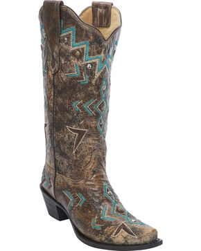Corral Women's Embroidered Studded Cowgirl Boots  - Snip Toe, Bronze, hi-res