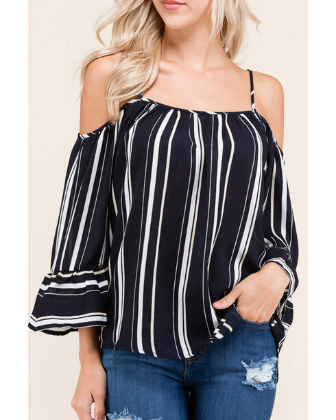 Polagram Women's Navy Striped Cold Shoulder Long Sleeve Top , Navy, hi-res