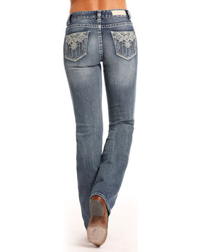 Rock & Roll Cowgirl Women's Aztec Embroidered Mid Rise Jeans - Boot Cut, Indigo, hi-res