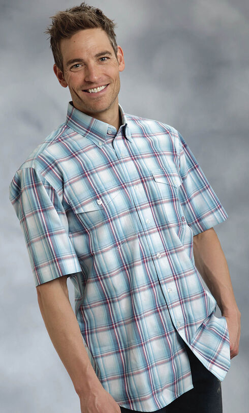Roper Amarillo Collection Blue Plaid Short Sleeve Shirt, Blue, hi-res