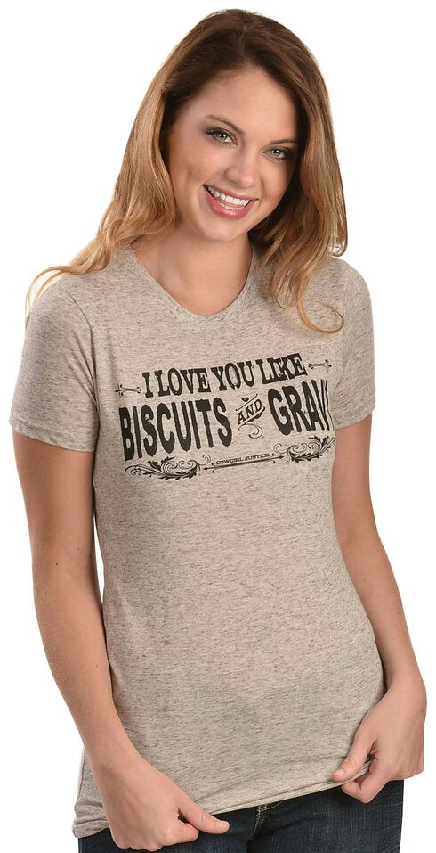 "Cowgirl Justice ""I Love You Like Biscuits & Gravy"" Tee, Grey, hi-res"