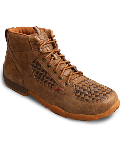 Twisted X Men's Brown Checkered Driving Moccasins - Moc Toe, Brown, hi-res