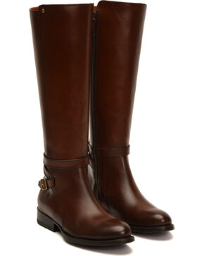 Frye Women's Whiskey Jordan Strap Boots - Round Toe , Dark Brown, hi-res