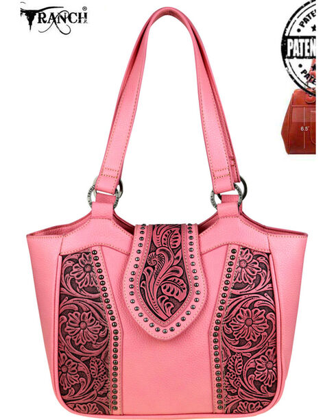 Trinity Ranch Women's Tooled Leather Conceal Carry Tote, Pink, hi-res