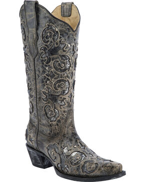 Corral Metallic Inlay Studded Cowgirl Boots - Snip Toe, Black, hi-res