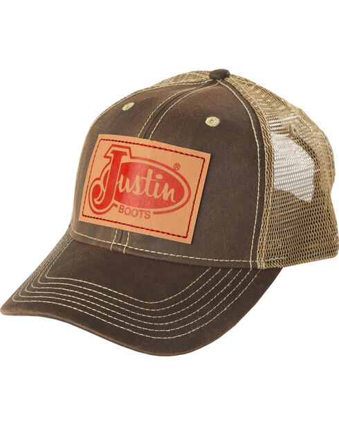 Justin Men's Brown Vintage Patch Baseball Cap , Brown, hi-res