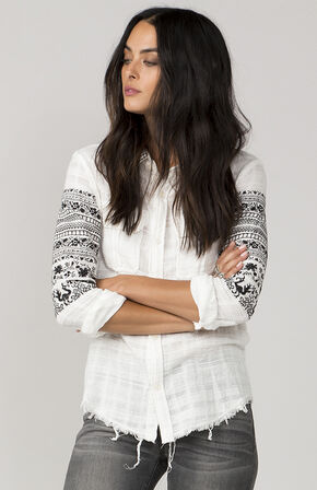 MM Vintage Women's White Sure Thing Button-Up Shirt , White, hi-res