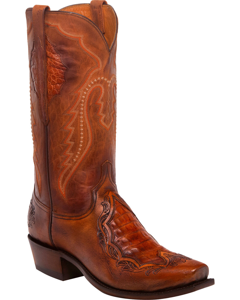 Lucchese Men's Handmade Bryson Peanut Caiman Inlay Western Boots - Square Toe, Tan, hi-res