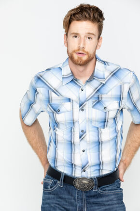 Cody James Men's Block Plaid Short Sleeve Shirt, Blue, hi-res