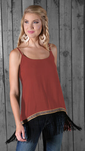 Wrangler Women's Sleeveless Fringe Tank Top, Red, hi-res