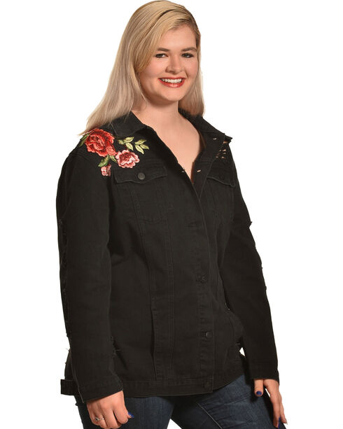 Boom Boom Jeans Women's Black Rose Embroidered Jacket - Plus , Black, hi-res