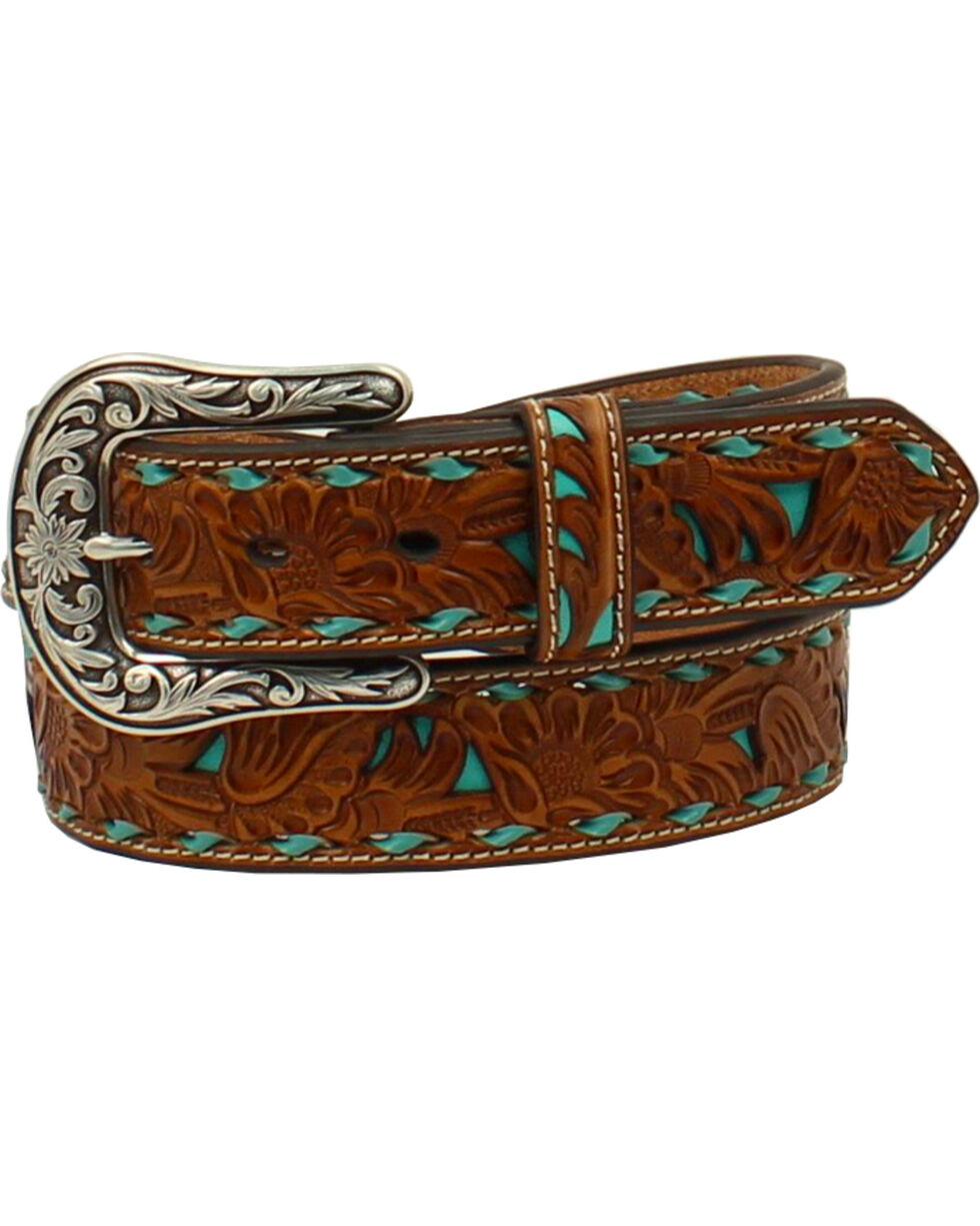 Nocona Women's Brown Embossed Turquoise Inlay Belt, Turquoise, hi-res