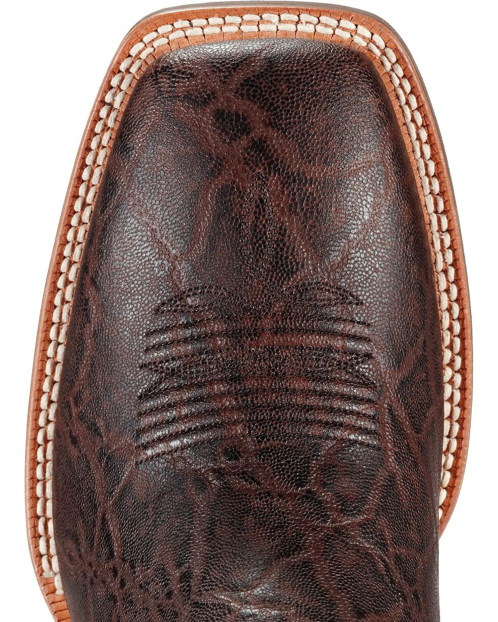Ariat Men's Quickdraw Elephant Print Boots - Wide Square Toe, Chocolate, hi-res