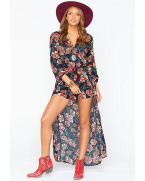 Shyanne Women's Floral Romper Maxi Dress, Black, hi-res