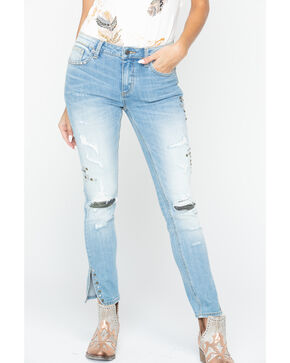 Miss Me Women's Camo Cut Out Skinny Capris, Blue, hi-res