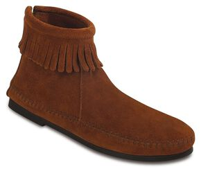 Women's Minnetonka Suede Back Zipper Moccasin Boots, Brown, hi-res