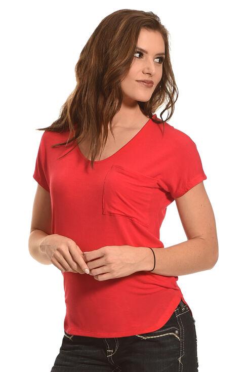 Derek Heart Women's Single Pocket Hi/Low Shirttail Hem Tee, Red, hi-res