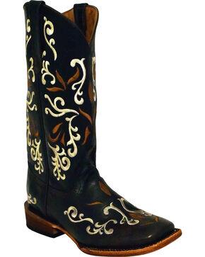 Ferrini Women's Gypsy Chocolate Cowgirl Boots - Square Toe , Chocolate, hi-res