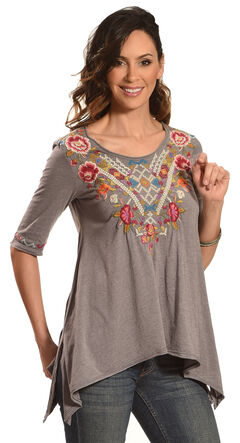 Johnny Was Women's Voltage Anaya Short Sleeve Trapeze Shirt , Grey, hi-res