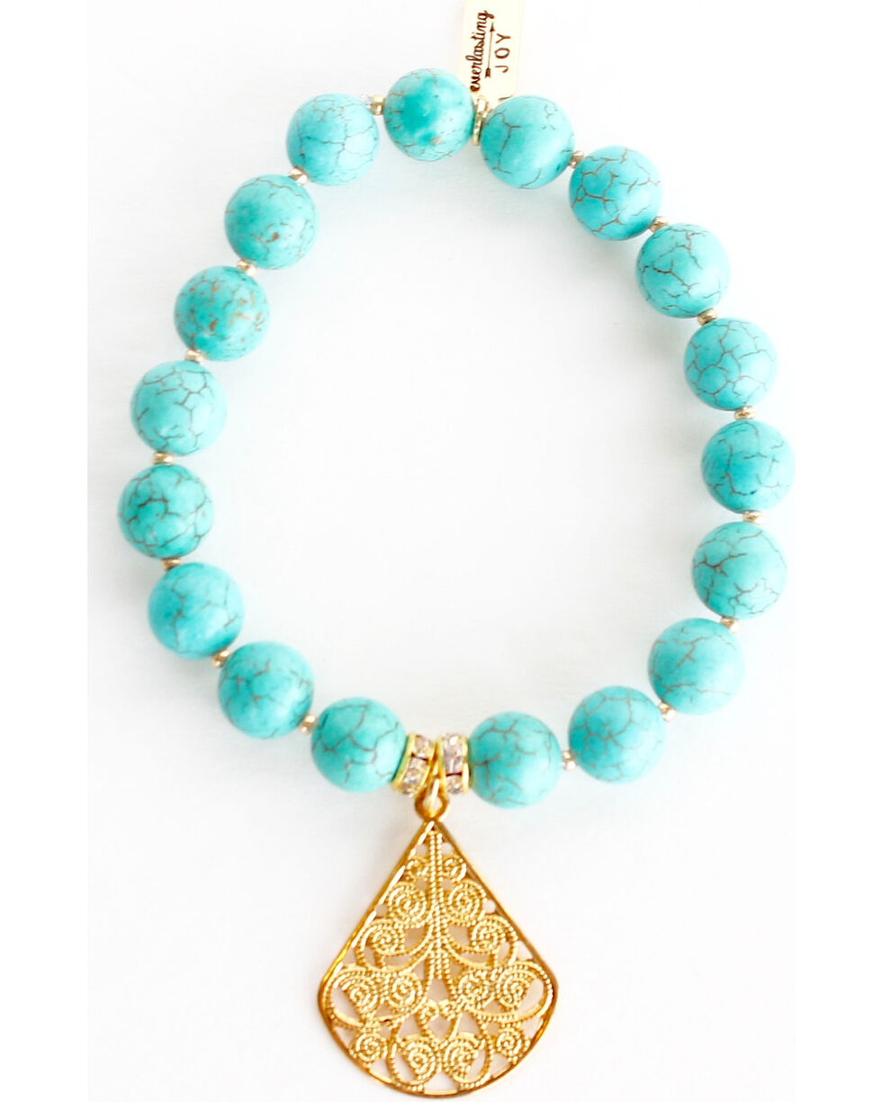 Everlasting Joy Jewelry Women's Turquoise Gold Dangle Bracelet , Turquoise, hi-res