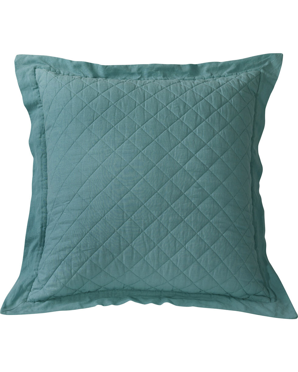 HiEnd Accents Diamond Quilted Turquoise Euro Sham, Turquoise, hi-res