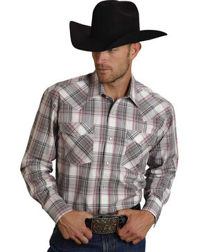 Roper Men's Amarillo Collection Red & Gray Plaid Western Shirt, Grey, hi-res