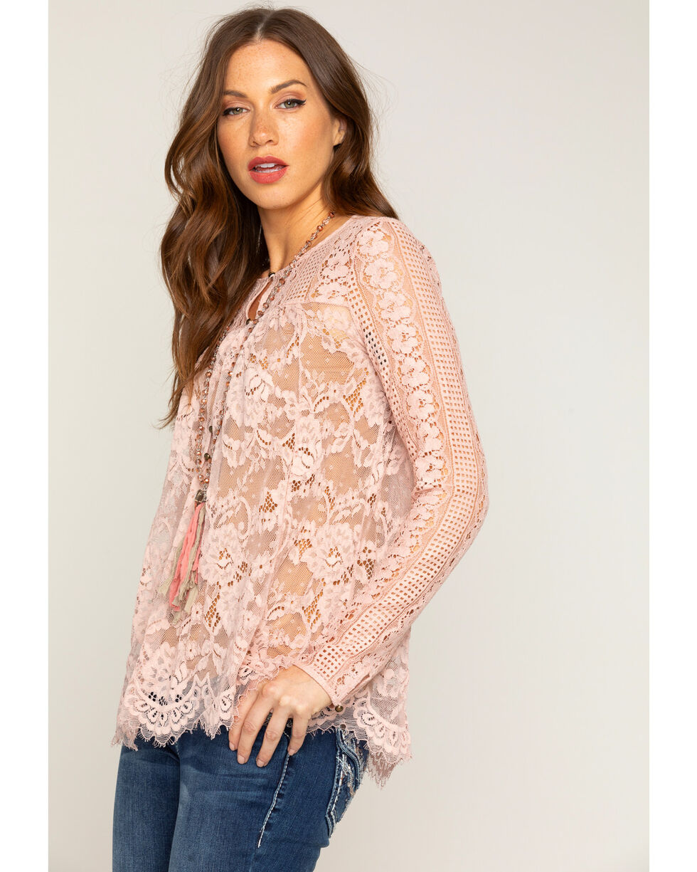 Shyanne Women's Lace Long Sleeve Peasant Top, Light/pastel Pink, hi-res