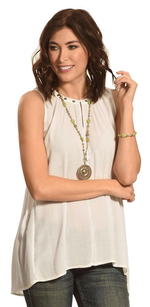Allison Brittney Women's Sleeveless Notch Crew Neck Top , White, hi-res