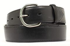 Black Leather Money Compartment Belt, Black, hi-res