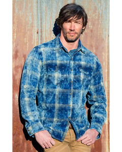 Ryan Michael Men's Midnight Sky Corduroy Plaid Shirt, Indigo, hi-res