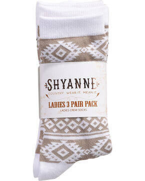 Shyanne Women's Aztec Stripe Crew Socks , Multi, hi-res