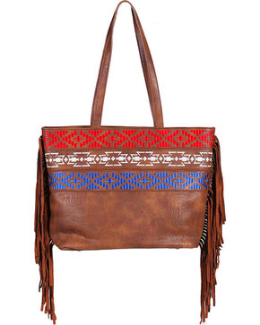 Catchfly Women's Embroidered Americana Concealed Carry Shoulder Bag, Brown, hi-res