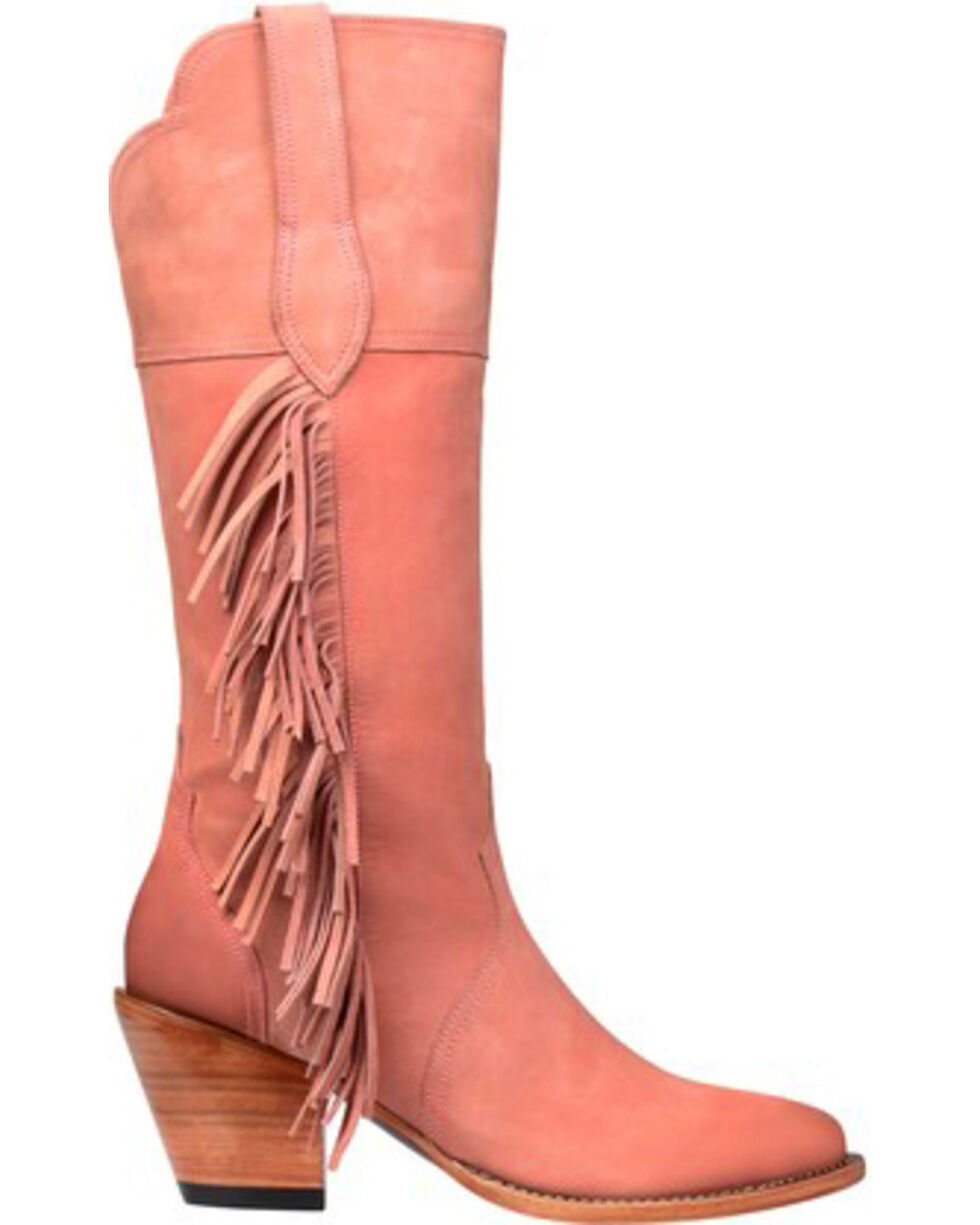 Lucchese Handmade Kacey Musgraves Gallop Suede Boots - Medium Toe, Pink, hi-res