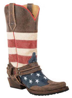 Roper American Biker Cowboy Boots - Square Toe, Brown, hi-res