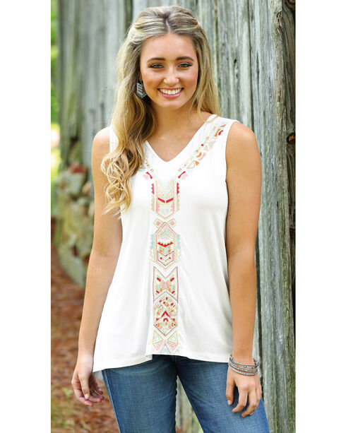 Wrangler Women's Aztec Embroidered Tank Top , Ivory, hi-res