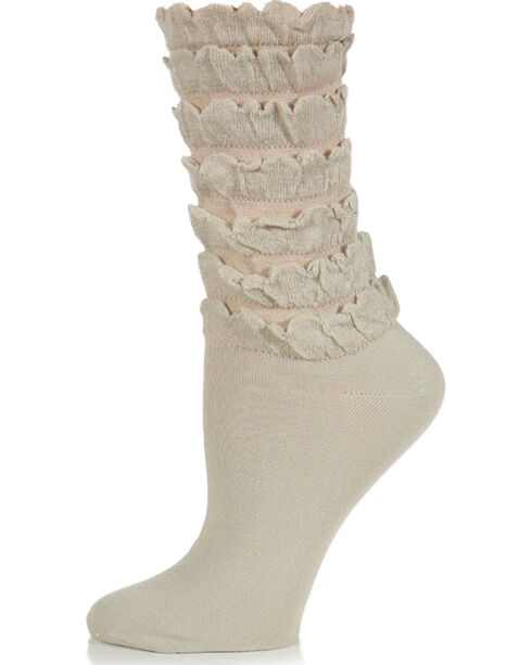 K.Bell Women's Mini Ruffle Crew Socks, Cream, hi-res