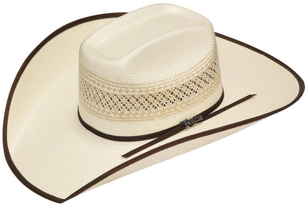 Twister 10X Shantung Brown Ribbon Bound Brim Straw Cowboy Hat, Tan, hi-res