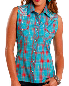 Panhandle Women's Blue Sleeveless Plaid Shirt , Blue, hi-res