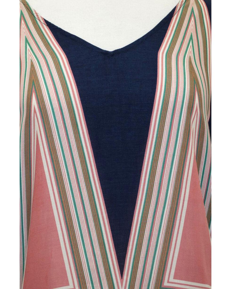 Young Essence Women's Short Sleeve Geometric Print Tassel Top, Multi, hi-res