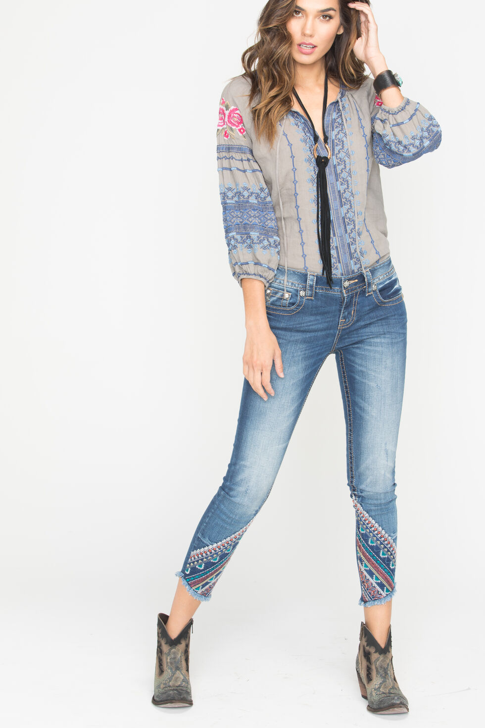 Miss Me Women's Gypsy Tales Ankle Skinny Jeans, Indigo, hi-res