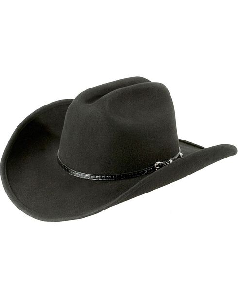 Cattleman Wool Felt Cowboy Hat, Black, hi-res
