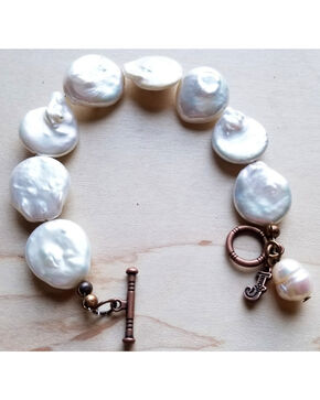 Jewelry Junkie Women's White Freshwater Pearl Coin Bracelet , White, hi-res