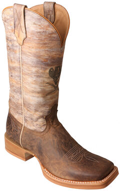 Twisted X Crazy Horse Ruff Stock Cowboy Boots - Square Toe  , Brown, hi-res
