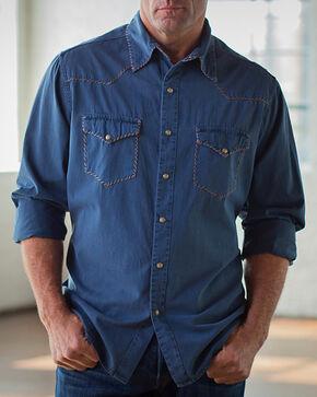 Ryan Michael Men's Whip Stitch Gabardine Shirt , Dark Blue, hi-res