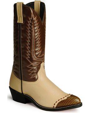Laredo Lizard Print Wingtip Cowboy Boots, Bone, hi-res