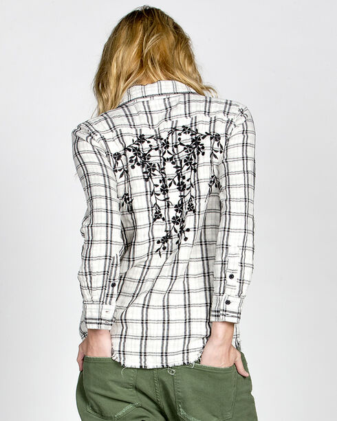 MM Vintage White Hidden Romance Plaid Shirt, White, hi-res