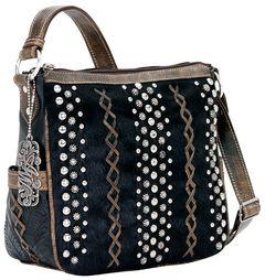 American West River Rock Black Hair-on-Hide Crossbody Handbag, Black, hi-res